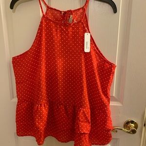 Brand new Red polk a dot halter blouse